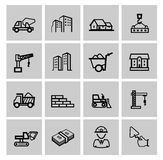 Vector black construction icons set Royalty Free Stock Photography