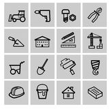 Vector black construction icons set Stock Image