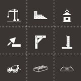 Vector black construction icons set. On black background Stock Photography