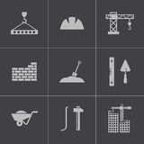 Vector black construction icons set Royalty Free Stock Images