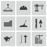 Vector black construction icons set Royalty Free Stock Photo