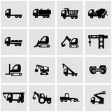 Vector black construction transport icon set Royalty Free Stock Photo