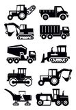 Construction transport. Vector black construction transport icon set on white Stock Image