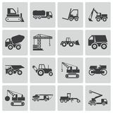 Vector black construction transport icons set Stock Image