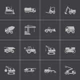 Vector black construction transport icons set Royalty Free Stock Photo