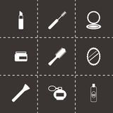 Vector black cosmetics eyes icons set Stock Photography