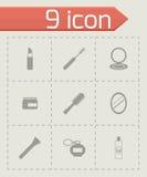 Vector black cosmetics eyes icons set Royalty Free Stock Photography