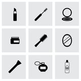 Vector black cosmetics eyes icons set Stock Images