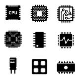 Vector black CPU microprocessor and chips icons set Stock Image