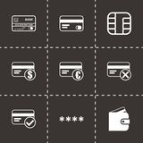 Vector black credit card eyes icons set Stock Photo