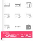 Vector black credit card eyes icons set Stock Photography