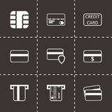 Vector black credit card icon set Stock Image