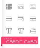 Vector black credit card icon set Stock Image