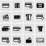 Vector black credit card icon set. On grey background Stock Photo