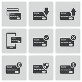 Vector black credit card icons set. On white background Stock Image