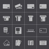 Vector black  credit cart  icons set Stock Photo
