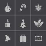 Vector black cristmas icons set Stock Photos