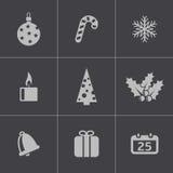 Vector black cristmas icons set Stock Photos