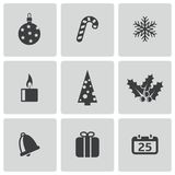 Vector black cristmas icons set Stock Photography