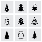Vector black cristmas trees icon set Royalty Free Stock Image