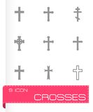 Vector black crosses icon set Royalty Free Stock Photography