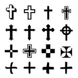 Vector black crosses icon set on white background Royalty Free Stock Photography