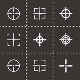 Vector black crosshair icon set. On black background Royalty Free Stock Image