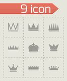 Vector black crown  icons set. On grey background Royalty Free Stock Photo