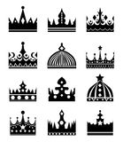 Vector black crown icons set illustration isolated on white Stock Photos
