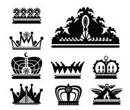 Vector black crown icons set on white Royalty Free Stock Photo
