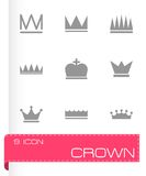 Vector black crown  icons set Royalty Free Stock Photo