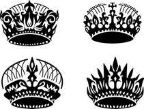 Vector black crown icons set on white Royalty Free Stock Photos