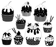 Vector Black Cupcakes Icons Stock Photo