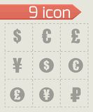 Vector black currency symbols  icons set Royalty Free Stock Images