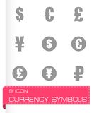 Vector black currency symbols  icons set Royalty Free Stock Photos