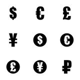 Vector black currency symbols  icons set Stock Photo