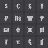 Vector black currency symbols set Royalty Free Stock Photos