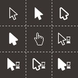Vector black cursor icon set. On black background Royalty Free Stock Photos