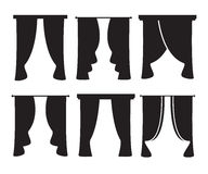 Vector black curtain icons on white background Royalty Free Stock Photography