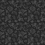 Vector Black 3d Floral Seamless Pattern. With Shadow. Template Decorative Background for Your Design Royalty Free Illustration