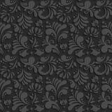 Vector Black 3d Floral Seamless Pattern Stock Photos