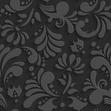 Vector Black 3d Floral Seamless Pattern Stock Image