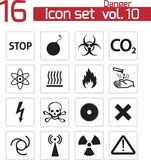 Vector black danger icons Stock Images