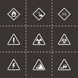 Vector black danger icons set Royalty Free Stock Photo