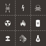 Vector black danger icons set Stock Images