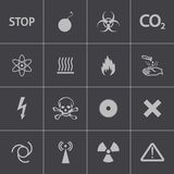 Vector black  danger icons set Royalty Free Stock Photo