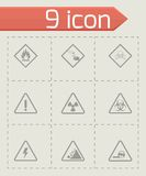 Vector black danger icons set Royalty Free Stock Images