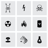 Vector black danger icons set Royalty Free Stock Photography