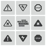 Vector black danger icons set Royalty Free Stock Photos