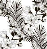 Vector Seamless Pattern with Drawn Flowers and Leaves. Vector Black Decorative Seamless Background Pattern with Drawn Flowers and Leaves, Fern Leaf, Calla Lily Stock Photos
